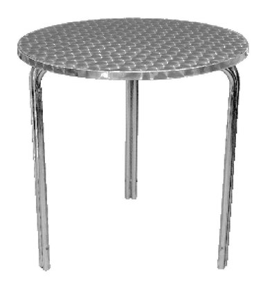 Bolero Terrace Round Table - Aluminium Frame - Stainless steel Worktop - 72 (H) x60 (Ø) mm