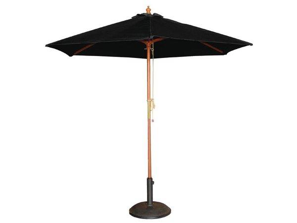 Bolero Parasol Rond met Katrolmechanisme - Kleur Zwart - 3 meter Ø