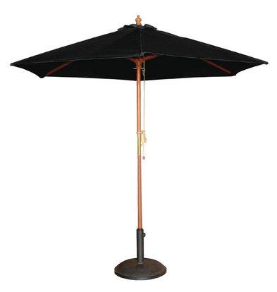 Bolero Parasol Rond met Katrolmechanisme - Kleur Zwart - 2,5 meter Ø