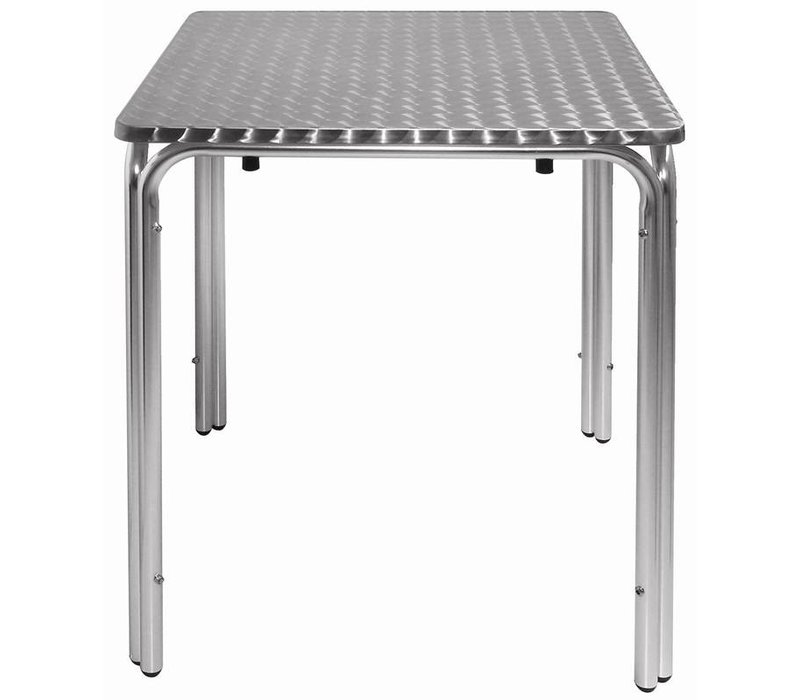 Bolero Bistrotafel / Horeca Tafels Stapelbaar - Aluminium + RVS Blad - 72(h)x60x60cm