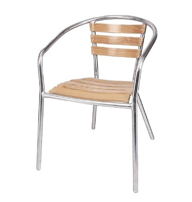 Bolero Stackable Chair Aluminium + Session of ash - Price per 4 pieces