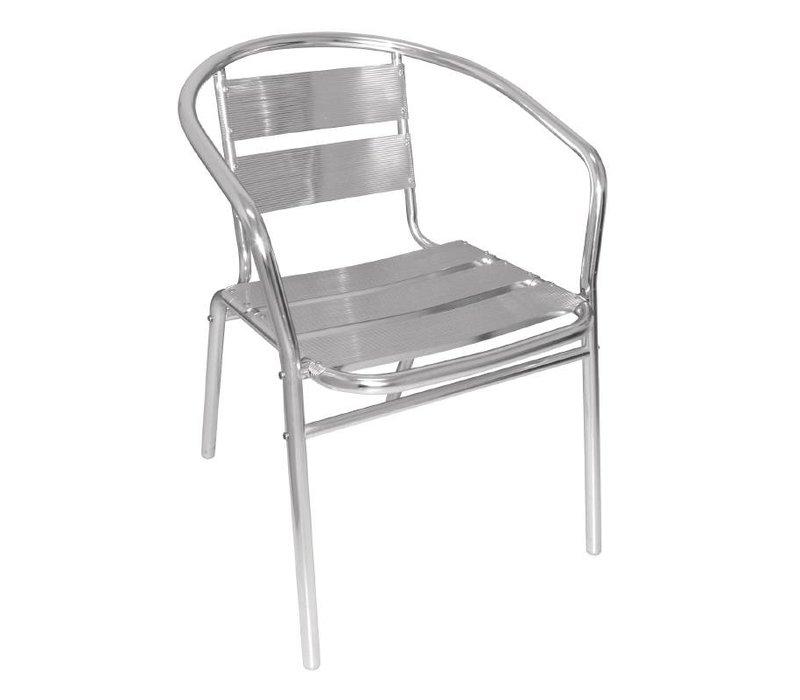 Bolero Stapelbare Aluminum Stoelen - Rond - Prijs per 4 stuks