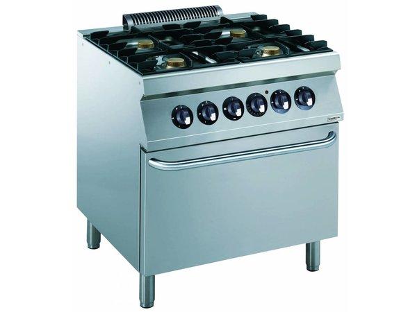 Combisteel Fornuis Gas 4 Pits met Elektrische oven - 4 x 5,5kw - 800x700x(h)900mm