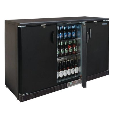 Polar Barkoeling Black 3 Blind Fold Doors - 273 Bottles - 335 liters - 1352 (b) x535 (d) X925 (H) mm