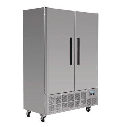 Polar Slimline Stainless Steel Double Freezer - 70x134x (h) 200cm - 960 Liter