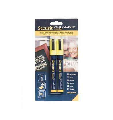 Securit Set van 2 Medium Krijtstiften | Geel | 2-6mm