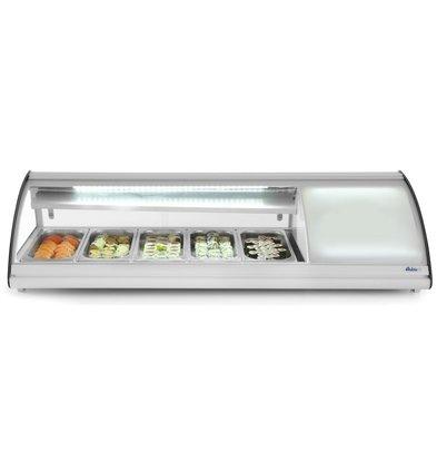 Hendi Sushi Display Gekoeld | 5x GN1/3 | 160W/230V | 1307x450x330(h)mm