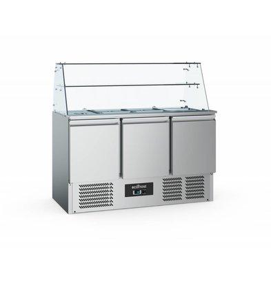 Ecofrost Saladette 3 Deurs | Glasopstand | 1365x700x850(h)mm
