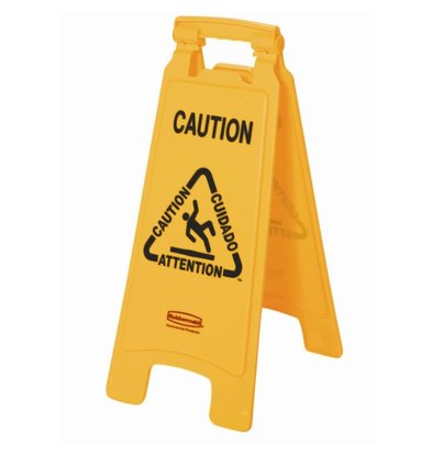 """Rubbermaid Rubbermaid A-frame multilingual warning sign """"Wet Floor 'image"""