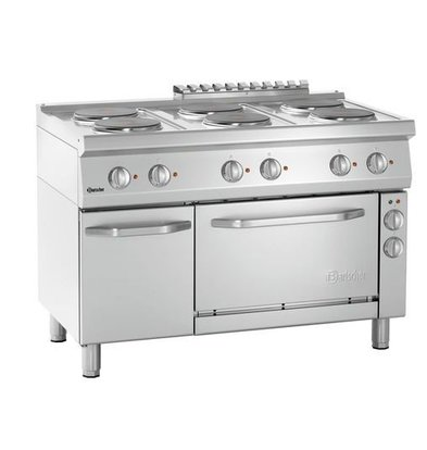 Bartscher Electric stove with oven 6 Cooking plates Ø220mm | 400V | Gastronorm 1/1 | 1200x700x850 (h) mm