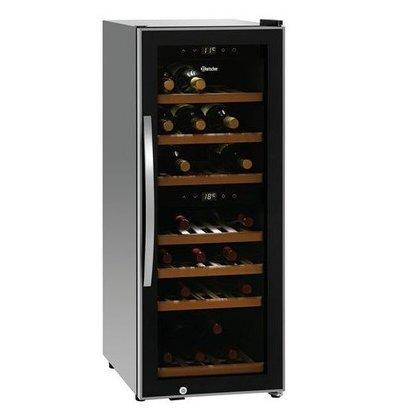 Bartscher Wijnkoelkast 113 Liter | 2 Zones | Geluidloze Compressor | 580x396x1030(h)mm