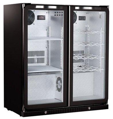 Husky Combi Barkoelkast Zwart | 160 Liter | 2 Temperatuurzones | Digitaal | 865x495x865(h)mm