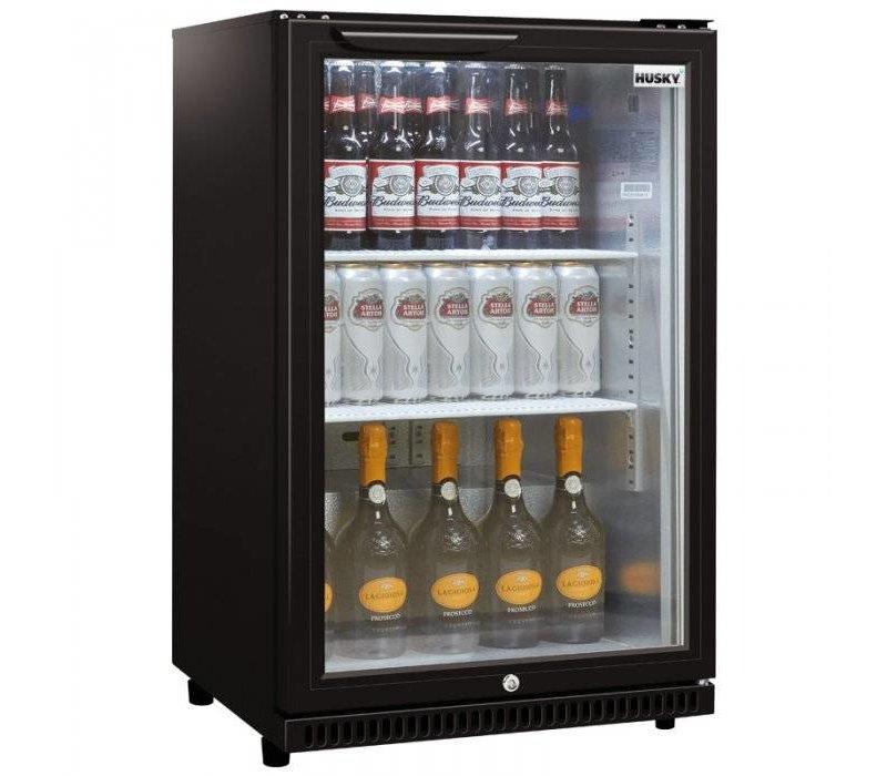Husky Barkoelkast Glasdeur Zwart | 112 Liter | Geforceerd | 555x520x865(h)mm