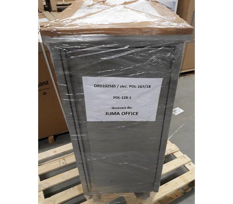 XXLselect SHOWMODEL | RVS Heavy Duty Werkkast | 1.2mm Dik Materiaal | Plank In Het Midden | Deur Afmeting: 620(B)x860(H)mm | Onder Ëen Werkblad 1.5mm Dik AISI 304 Kwaliteit | 1400x700x1090(H)