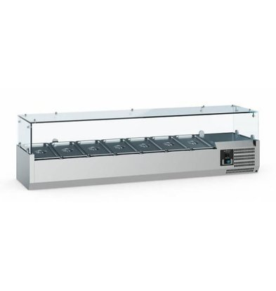 Ecofrost Set-up refrigerated display case - 6x 1/4 GN - 140x33.5x (H) 43.5 cm