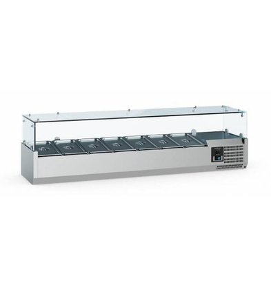 Ecofrost Set-up refrigerated display case - 7x 1/4 GN - 160x33.5x (H) 43.5 cm