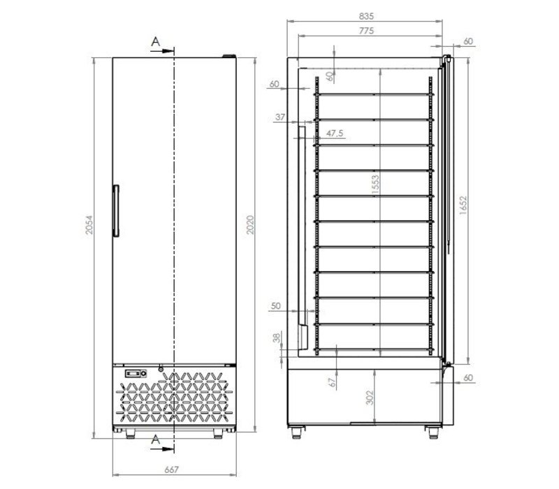 Combisteel IJsbewaarkast 658 Liter | 5 Roosters | Koelmiddel R290 | 667x895x2020(h)mm