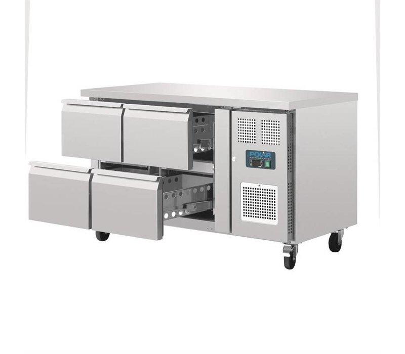 Polar Belüftete Kühlwerkbank | 4 Schubladen | 314 Liter 136x70x (H) 86cm
