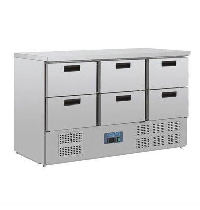 Polar Koelwerkbank | 6x 1/1GN lades | 205 Liter | 137x70x(H)87cm