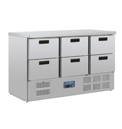 Polar Saladette | 6x 1 / 1GN drawers 205 liters 137x70x (H) 87cm