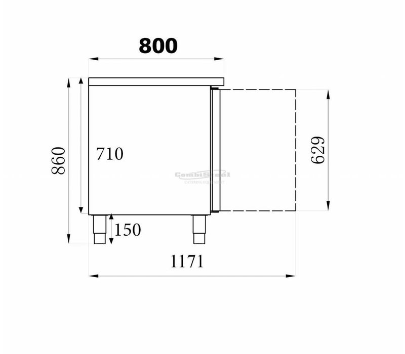 Combisteel Kühle Workbench -Edelstahl - 3 Tür - 202x80x (h) 85cm - Termine 600x400mm