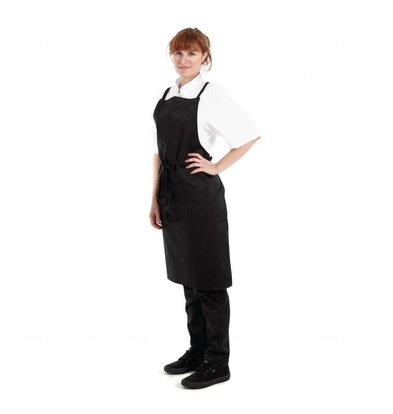 Whites Chefs Clothing Whites Southside Halterschort met Kruisbanden | Zwart | 100x70cm