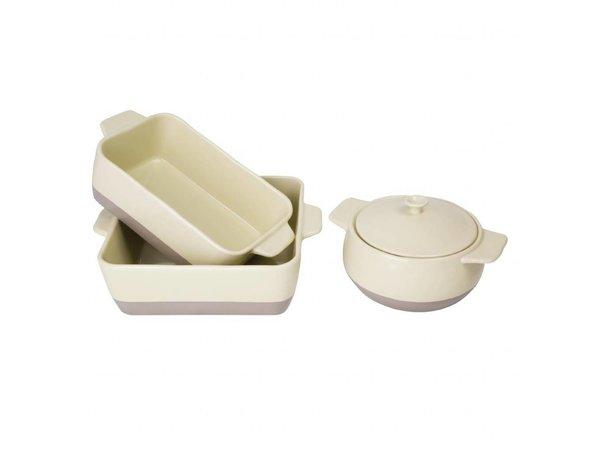 Olympia Braadpan | Rond |Voor crème en taupe | 1,8 Liter | 26,5x19,5x(H)9cm