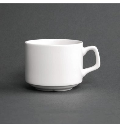 Lumina Fine China Kopjes | Stapelbaar | 20cl | Wit porselein | Ø8x(H)6,5cm