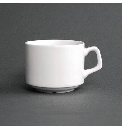 Lumina Fine China Tassen | Stapelbar 20cl | 6 Stück | Weißes Porzellan | Ø8x (H) 6,5 cm