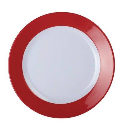 Kristallon Kristallon Gala melamine bord met rode rand | 19,5cm | Per 6 Stuks