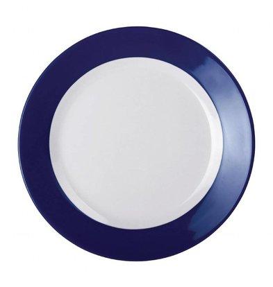 Kristallon Kristallon Gala melamine bord met blauwe rand 19,5cm | Per 6 Stuks