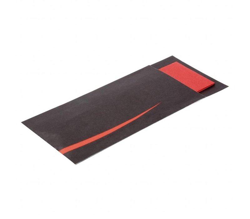 Europochette Bestekzakjes met servet | zwart-rood | 125 stuks