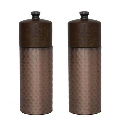 Olympia Zout- en pepermolenset | Koper en hout | 15(H)cm