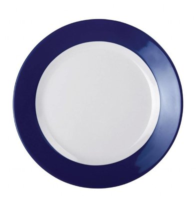 Kristallon Kristallon Gala melamine plate with blue rim 26cm Per 6 Pieces