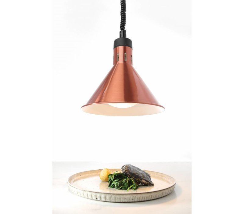 Hendi Aluminium Heat Lampe Kegelförmig | Kupferfarbe 250W / 230V | Einstellbar Ø175x (H) 250mm