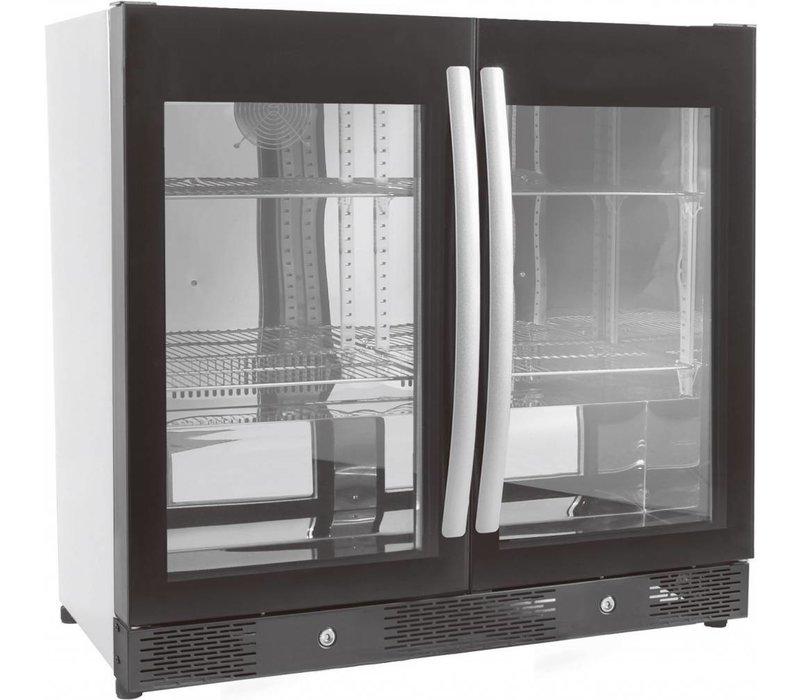 Combisteel Barkoelkast 2 Glasdeuren | Robuuste Handgreep | LED  | Geforceerd | Koelmiddel R600A | 240 watt | 900x500x(H)840mm