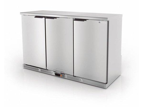 Coreco Barkoelkast 3 Deurs RVS | 2 Verstelbare Etages | 305 Liter | 137,5x52x(H)90cm