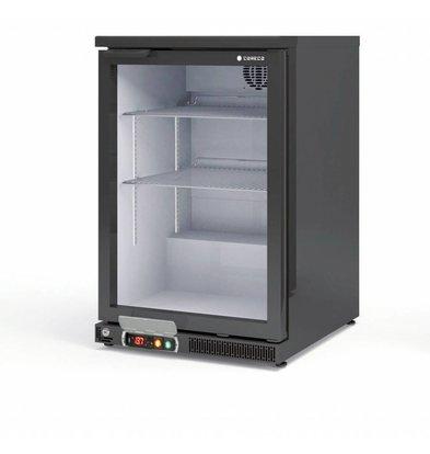 Coreco Barkoelkast Zwart | Glazen Deur | 2 Verstelbare Etages | 130 Liter | 62x52x(H)90cm