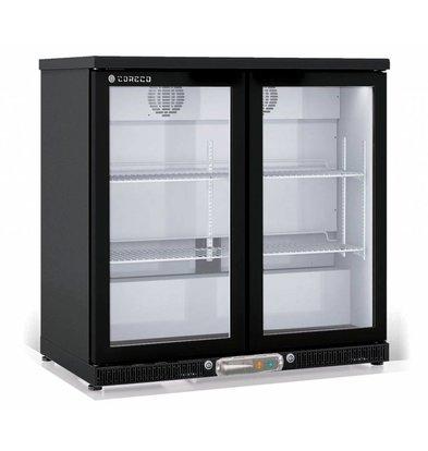 Coreco Barkoelkast 2 Deurs Zwart | Glazen Deur  | 2 Verstelbare Etages | 200 Liter | 92,5x52x(H)90cm