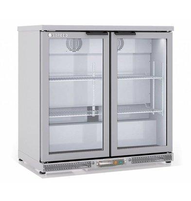 Coreco Barkoelkast 2 Deurs RVS | Glazen Deur  | 2 Verstelbare Etages | 200 Liter | 92,5x52x(H)90cm