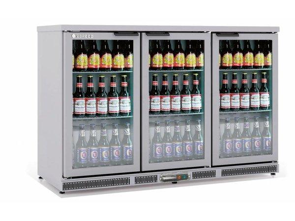 Coreco Barkoelkast 3 Deurs RVS | Glazen Deur  | 2 Verstelbare Etages | 305 Liter | 137,5x52x(H)90cm