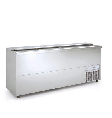 Coreco Frontbar Koelkist Aluminium | Schuifdeksel | BE200-A | 199x55x(H)85cm