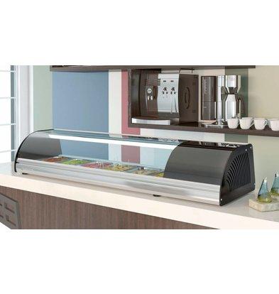 Coreco Sushi Opzetvitrine  RVS   BCCS-8   Geschikt voor 1/3 GN platen   175,5x41x(H)25,5cm