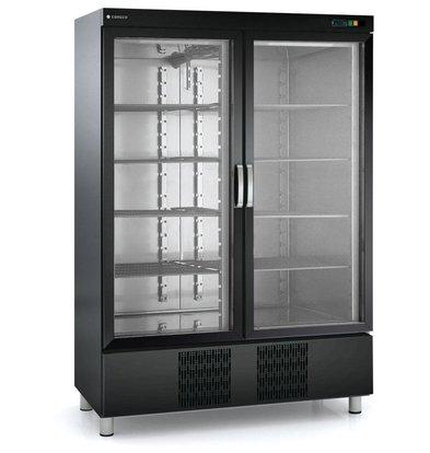 Coreco Horeca Display Koelkast Zwart | Dubbele Glazen Deur | RVC-1302-NE | Coreco | 139x74x(H)210,5cm