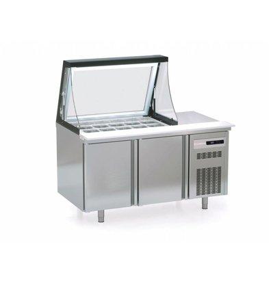 Coreco Saladette 2 Deurs  375 Liter | met Glasopbouw | SDTP-48-18-LGL | 16x 1/6GN | 134,5x70x(H)155,8cm