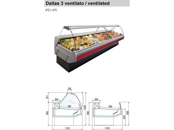 Arneg Koeltoonbank met Verlichting | Marmeren Werkblad | DALLAS/3 VC 3750  | Arneg | 383x114,5x(H)125,6cm