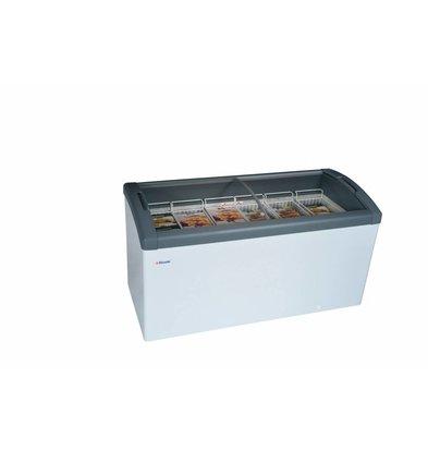 Elcold Vrieskist met Gebogen Glazen Schuifruiten | Elcold FOCUS 151 GREY | 418 Liter | 150,4x65x(h)85 cm