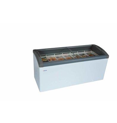 Elcold Vrieskist met Gebogen Glazen Schuifruiten | Elcold FOCUS 171 GREY | 484 Liter | 170,4x65x(h)85 cm