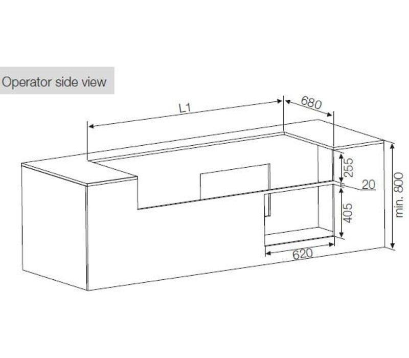 ColdFlow Drop in Gebaksvitrine | met Lades | Gehard Glas | 3GN | 112,5x70x(H)83cm