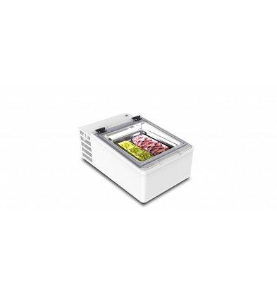 Framec Schepijsvitrine Tafelmodel | Geschikt voor 2x5 Liter Bakken | 49x79x(H)34,5cm
